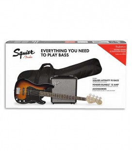 Pack Fender Squier Bass Affinity Precision Bass Rumble 15 Amp Sunburst