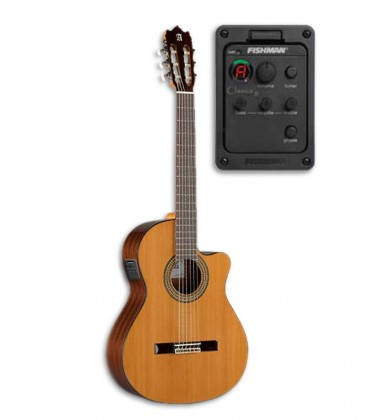 Photo of classical guitar Alhambra 3C CW E1 and preampificador