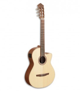 Photo of Paco Castillo classical guitar 221 CCE model front and three quarters