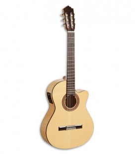 Photo of the Paco Castillo classical guitar model 223 FCE front and in three quarters