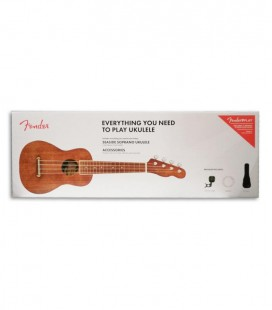 Pack Ukulele Fender Soprano Seaside Natural Bag Strings Tuner