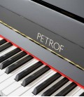 Photo detail of the keyboard of the Upright Piano Petrof model P122 N2