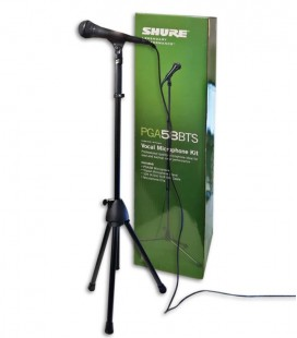 Photo of the microphone Shure model PGA 58 BTS with cable, stand and clamp