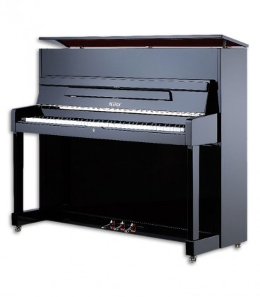 Photo of the Upright Piano Petrof model P118 M1 of the Middle Series front and three quarters