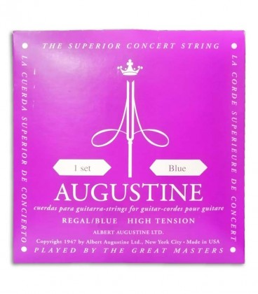 Photo of the cover of the package of the String Set Augustine Regal Blue for Classical Guitar