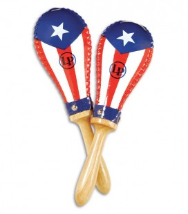 Photo of the Pair of Maracas LP model LP862215 Salsa with the heads decorated with the Puerto Rico flag