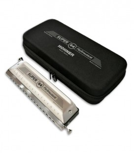 Photo of the Hohner Harmonica Super 64 New Version and case