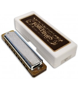 Photo of the Harmonica Lee Oskar model Tombo Folk Blues in A with the case