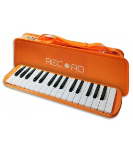 Photo of the Melodica Record model M 37OR in orange color with case