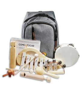 Photo of the backpack and of the 7 musical instruments from the Percussion Kit Penguin Children with 7 Pieces