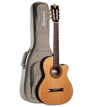 Photo of the Electroacoustic Guitar Alhambra model CS 1 CW E1 Preamp Crossover Nylon with the Bag