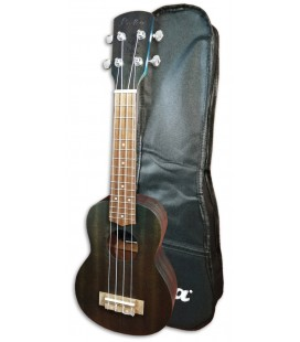 Photo of the Soprano Ukulele Laka model VUS5BL in Blue color with the Bag5BL Blue with Bag