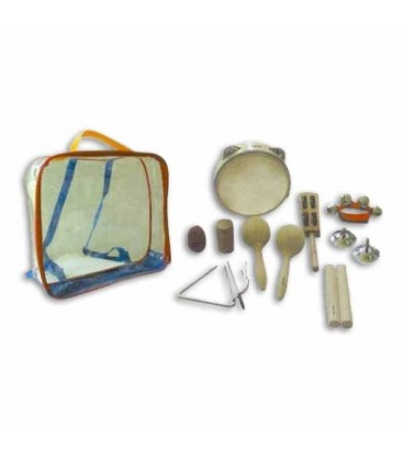 Photo of instruments and case of percussion kit Honsuy 46550