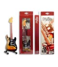 Picture of a miniature electric guitar on the stand and packaging