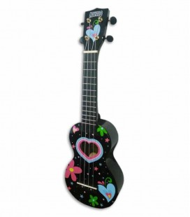 Mahalo Soprano Ukulele MA1HE Hearts Black with Bag