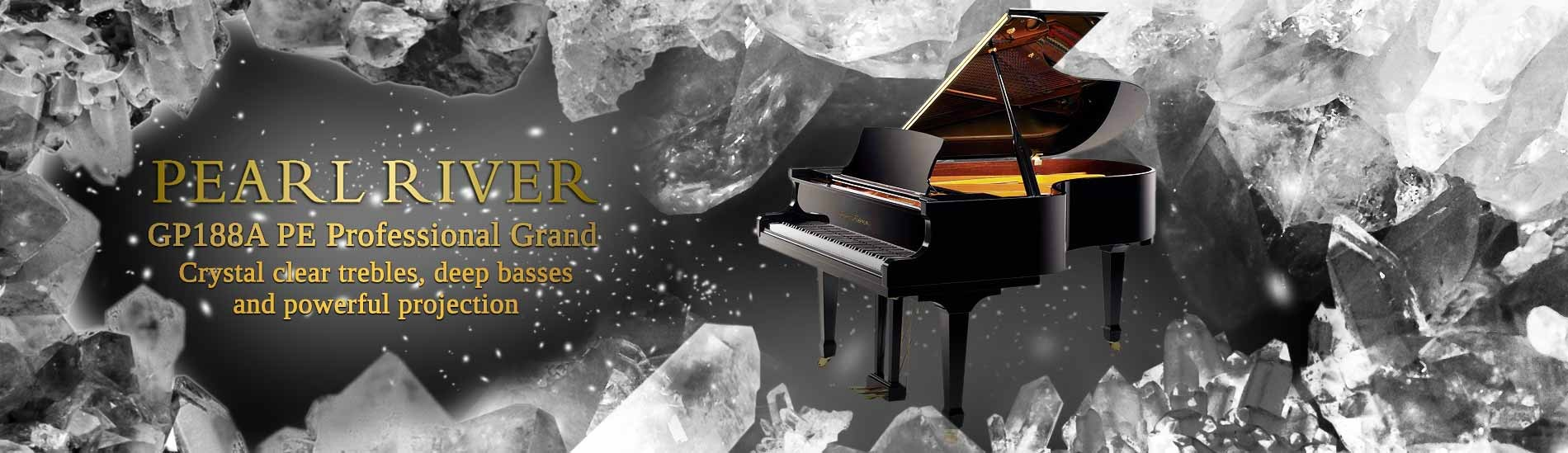 Grand Piano Pearl River GP188A PE Professional Grand - Crystal clear trebles, deep basses and powerful projection